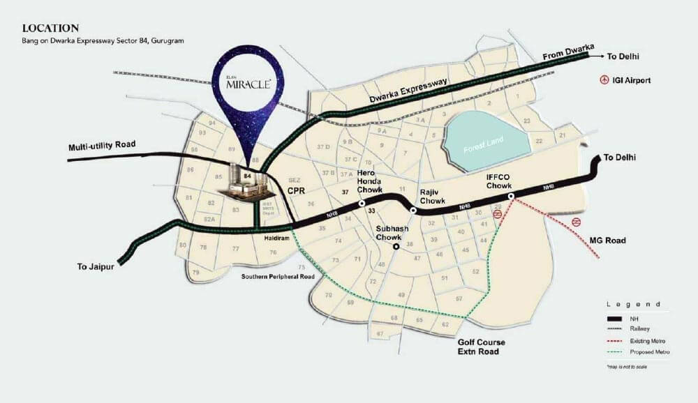 elan miracle location map sector 84 gurgaon